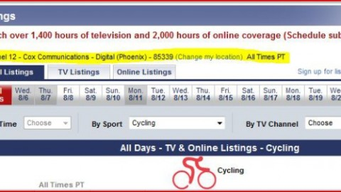 Olympics Cycling TV & Web Schedule